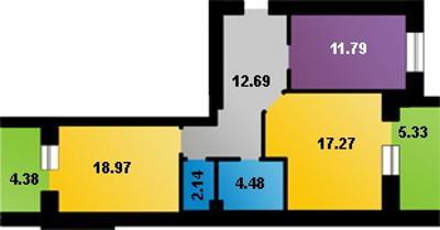 План 2-кімнатної квартири, <br /> наданої головному міліціонеру <br /> Рівненщини Василю Лазутку