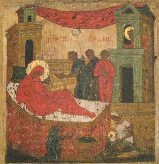 Різдво Богоматері, псковська ікона XVI-XVII століть